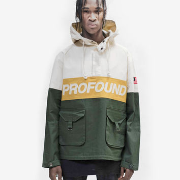 3-Tone Pullover Parka Jacket in Cream/Forest/Gold