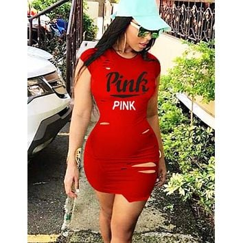 Victoria Pink New fashion letter print hole short sleeve dress women Red