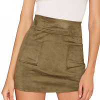 Changeling Olive Green Suede Mini Skirt