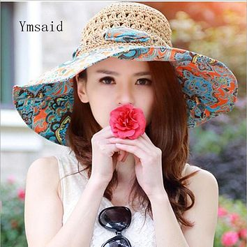 Summer Large Brim Beach Sun Hats  Women UV Protection Women Caps With Big Head Foldable Style Fashion Lady's Straw hat