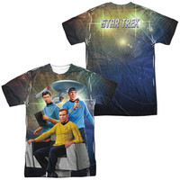 STAR TREK/KIRK SPOCK MCCOY-S/S ADULT POLY CREW-SUBLIMATE WHITE