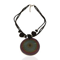 Abalone Beaded Statement Graphic Necklace Graphic Dots
