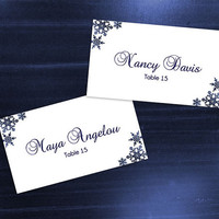 DIY Printable Wedding Place Name Card Template | Editable MS Word file | 3.5 x 2| Instant Download | Winter Royal Navy Blue Snowflakes