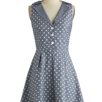 ModCloth Vintage Inspired Mid-length Sleeveless Shirt Dress Playwright Date Dress in Chambray