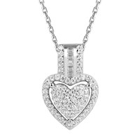 Sterling Silver Double Heart Solitaire Pendant Chain Valentine's Gift