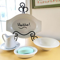 5 Piece Collection of White Ironstone China,Small Ironstone Pitcher, Ironstone Soap Dish