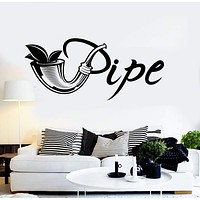 Vinyl Wall Decal Tobacco Shop Logo Pipe Smoking Smoke Stickers Unique Gift (ig4182)
