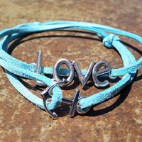 Blue Leather Silver Love Anchor Bracelet Anklet Charm Men Women Unisex Fashion New Love Cute Diy Friendship