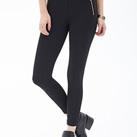 FOREVER 21 Zippered Scuba Knit Pants