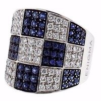 G. Bulgari Enigma Sapphire Diamond Gold Checkered Ring