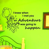 Wall Vinyl Decals Winnie The Pooh Quote Decal I Knew When Adventure I met You Sayings Sticker Kids Nursery Room Home Wall Decor Murals Z738