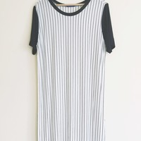 Mari Crewneck Vertical Stripe T-Shirt Dress