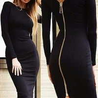 Full Zipper Back Sheath Bodycon Dress