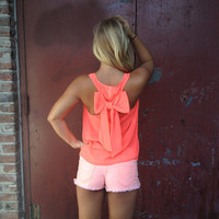 Neon Bow Back Chiffon Top