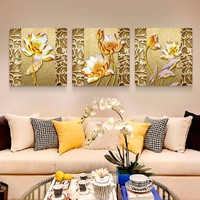 Home Decor Wall Art Canvas Painting Lotus Cheap Modern Picture Paintings on Canvas Wall Pictures for Living Room No Frame HY37
