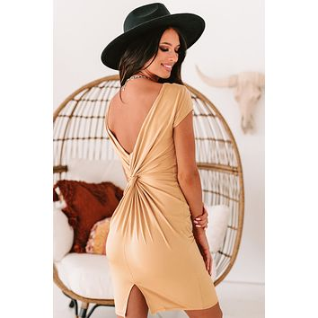 NYC Nights Twist-Knot Bodycon (Taupe)