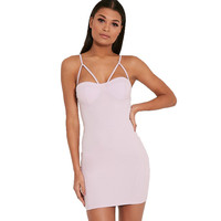 GD337  Woman Sexy Quartz Pink Adjustable Strap Cut Out Kitty  Bust Bodycon Dress Mini Party Dresses