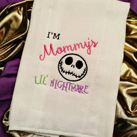 BURP CLOTHS  Nightmare Before Christmas Mommy's Lil Nightmare or Simply Meant To Be Nursery Shower GiFT UNiQUE Designs by Sugarbear