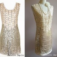 Art Deco Nude 1920s Style Glam Flapper Sequins Glam Jewelled Cocktail Dress - M