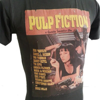 Retro Pulp Fiction movie T-shirt Rock Music Size S / M / L / XL  stones washed black R-079