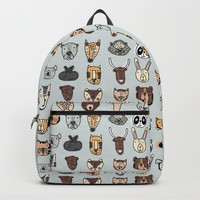 Wild Animal Portraits Blue Gray Texture Backpack by doucettedesigns