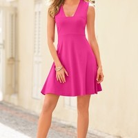 Boston Proper Square-neck ponte fit and flare dress