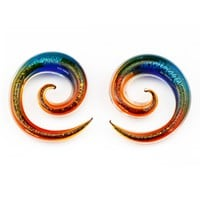 BodyJ4You Glass Spiral Taper Dichroic Glitter Ear Gauges 4G-12mm Piercing Jewelry