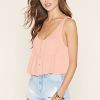 Shirred Button-Front Top | Forever 21 - 2000221274