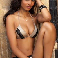 Sports Illustrated Feature - Voda Swim Envy Push Up Ruched Lace Bikini in Sahara Shimmer