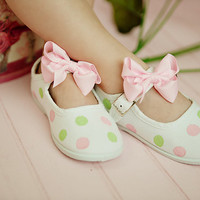 Pastel Dots maryjane shoes for girls - baby - toddler - hand painted springtime shoes Easter shoes