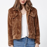 Honey Punch Faux Fur Jacket - Womens Jacket - Brown