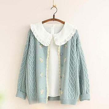 Mori Girl Sweet Floral Thick Warm Sweater