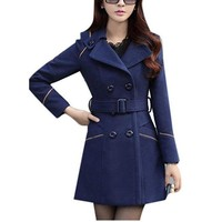 Navy Blue Double Breasted Button Up Pea Coat Dress Jacket