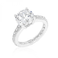 Micro-pave Cubic Zirconia Engagement Ring (size: 05)