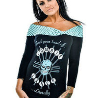 """Women's """"Zombie Lanes"""" Cloud 9 Top by Too Fast (Black)"""
