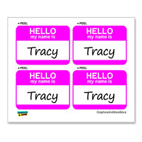 Tracy Hello My Name Is - Sheet of 4 Stickers