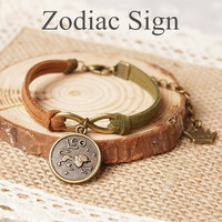 Vintage Retro Zodiac Sign Bracelet Aries/ Taurus/ Geminis/ Cancer/ Leo/ Virgo/ Libra/ Scorpio/ Sagittarius/ Capricorn/ Aquarius/ Pisces (With Thanksgiving&Christmas Gift Box)= 1931844676