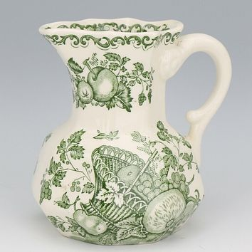 Green English Transferware Jug Pitcher Masons Fruit Basket