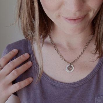 wild and free necklace // hand stamped jewelry // brass and silver