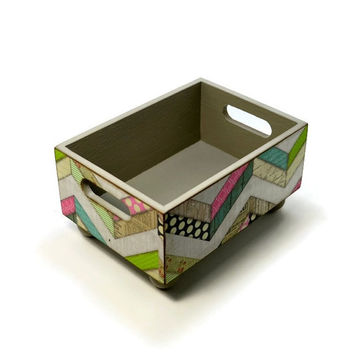 Storage bin with muti pattern chevron to use as a recipe card holder, decorative centerpiece in a rustic home decor or country kitchen decor