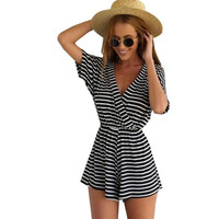 2015 Striped White Black Summer Style jumpsuits bodysuit overall Women jumpsuits ladies overall women monos largos de mujer = 5613044993