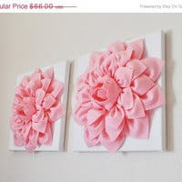 """MOTHERS DAY SALE Two Wall Flowers -Light Pink Dahlias on White and 12 x12"""" Canvas Wall Art- Baby Nursery Wall Art"""
