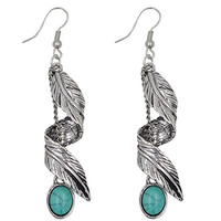 Ginasy Bohemia Spiral Drop Earrings Teardrop Turquoise Plated Alloy Dangle Earrings (Leaf 4)