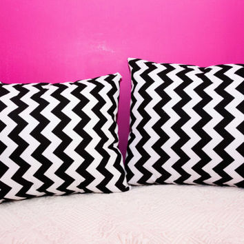 Black Pillow Chevron.20x20 inch.Decorator Pillow Covers.Printed Fabric Front and Back.Housewares.Home Decor.Cushions.cm