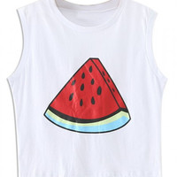 White Watermelon Print Sleeveless Loose Vest