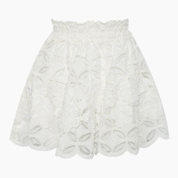 Carlotta Corded Lace Skirt - White