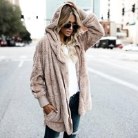 Fleece Cardigans Women Long Cardigan Womens Sweaters 2018 Winter Autumn Thin Hooded Oversized Sweater Women Plus Size Pull