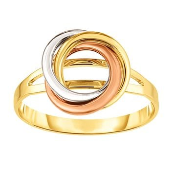 14K Tricolor Gold Lovers Love Knot Ring, Size 7