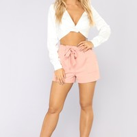 Out For The Day Linen Shorts - Mauve