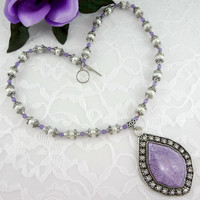 Purple & faux pearl crystal necklace, statement necklace